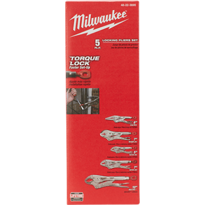 48-22-3695 | Milwaukee Torque Lock Locking Pliers Kit (5-Piece)